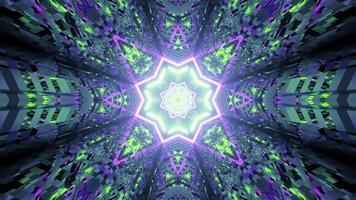 ornamento distorcido em torno da ilustração 3D do túnel em forma de estrela
