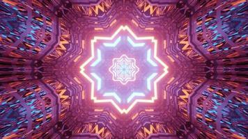Ilustração 3D do túnel brilhante em forma de estrela
