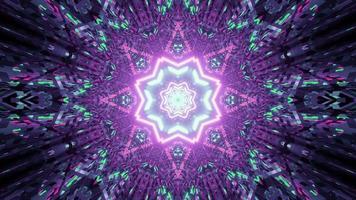 Ilustração 3D de um túnel em forma de estrela brilhante
