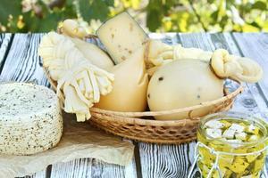 diferentes tipos de queijos em um fundo de madeira contra o fundo de folhagem verde foto
