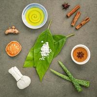 disposição plana de ingredientes orgânicos para a pele
