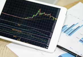 gráficos de ações em um tablet