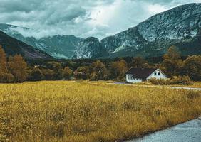 belo prado norueguês com fundo de montanha