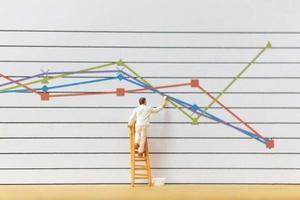 trabalhador em miniatura pintando gráficos de negócios em um fundo branco, conceito de crescimento de negócios foto