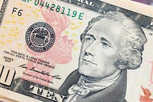 notas de dólares americanos, conceito comercial e bancário foto