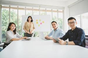 empresários asiáticos durante conferência de brainstorm