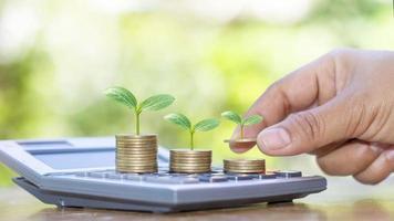 a mão segurando a árvore que cresce na moeda inclui a muda