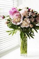 lindo buquê de peônia rosa em um vaso foto