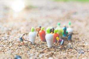 jardineiros em miniatura colhendo vegetais, conceito de agricultura foto