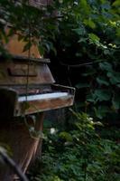 piano de pé cercado por arbustos em um jardim