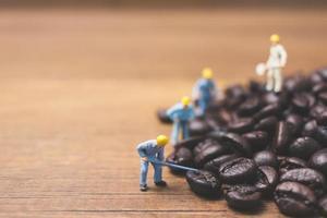pessoas em miniatura trabalhando em grãos de café torrados foto