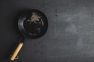 pan em um fundo preto