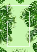 moldura de folhas verdes tropicais com bordas brancas sobre fundo verde foto