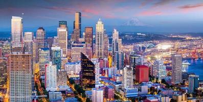 skyline de Seattle no crepúsculo