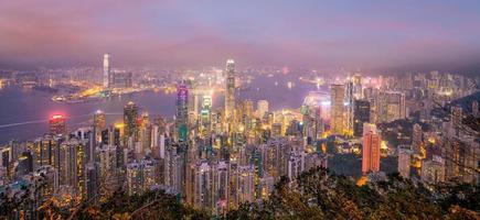 horizonte da cidade de hong kong com vista do porto de victoria