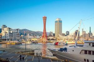 horizonte e porto de kobe no japão foto
