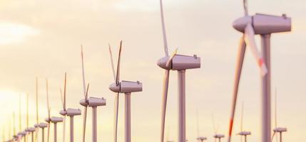 close-up de muitas turbinas eólicas em um pôr do sol