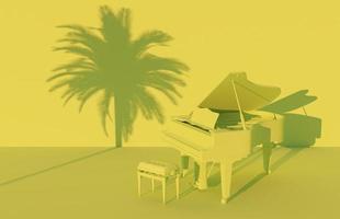 Piano de cauda 3D em cenário monocromático