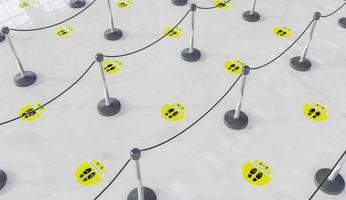 Fila de espera 3D com etiquetas amarelas de distância social foto