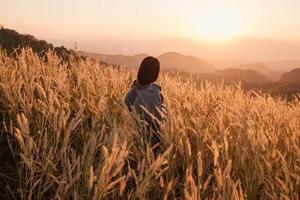 mulher em um prado ao pôr do sol