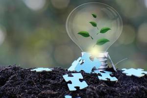 lâmpada, salve o mundo e o conceito de crescimento dos negócios foto