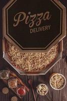 pizza com mussarela, estrogonofe de carne e palitos de batata em uma caixa de entrega