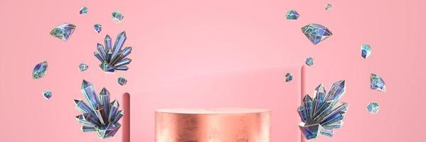Pódio de exibição de produto de ouro abstrato com grupo de cristal, renderização 3D foto