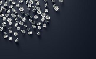 grupo de diamantes colocado em um fundo preto com espaço de cópia, renderização em 3D foto