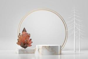 pódio de mármore para vitrine de produtos com cristal em fundo branco, renderização em 3D foto