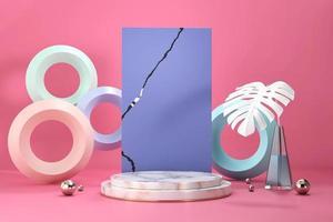 Pódio de mármore para vitrine de exposição de produtos com decoração de vaso Monstera renderização em 3D foto