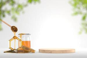 xarope de mel e pano de fundo de banner de plataforma de madeira, renderização em 3D foto
