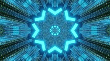 raios de néon de formas geométricas na ilustração 3d do túnel de ficção científica foto