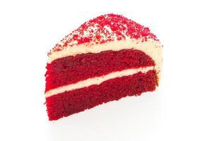 bolo de veludo vermelho isolado no fundo branco foto