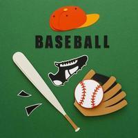 recorte de papel de uma bola de beisebol com tampa de luva de morcego