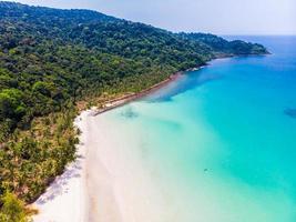 linda vista aérea praia e mar com coqueiro