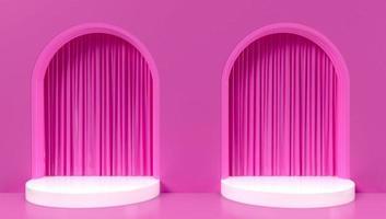 Renderização 3D de fundo de dois arcos rosa foto