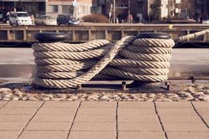close-up de corda de um barco