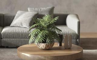 planta em vaso em uma mesa de madeira foto