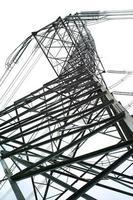 vista de alto ângulo da torre de eletricidade de alta tensão em um dia ensolarado com fundo de céu claro