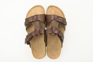 sandália masculina de couro e sapatos flip-flop foto