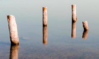 colunas de madeira em águas calmas foto
