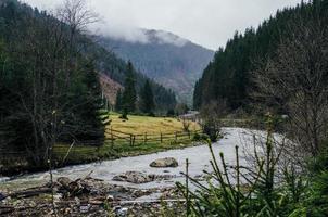 vista nevoenta do rio foto