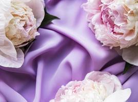 flores de peônia em um fundo de seda violeta