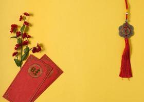 fundo amarelo do conceito do ano novo chinês foto