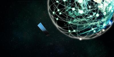 satélites da internet orbitam a terra, conceito de comunicação de tecnologia 3D, ilustração
