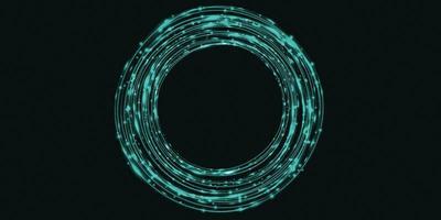 curva de luz verde abstrato círculo brilho fundo, ilustração 3D foto