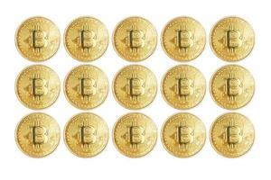 conceito de investimento em mineração, moeda digital isolada no fundo branco foto