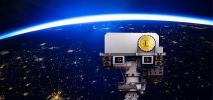 bitcoin da moeda mundial, elementos desta imagem fornecidos pela nasa, ilustração 3D