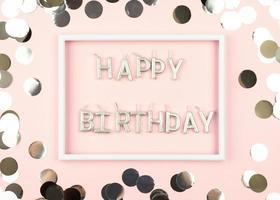 mensagem de feliz aniversário em quadro em fundo rosa
