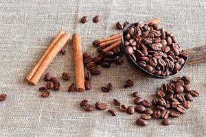casca de coco com grãos de café, anis e paus de canela. saco de fundo. luz do dia foto
